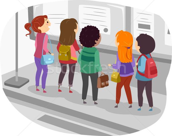 Boletim conselho ilustração grupo estudantes homem Foto stock © lenm