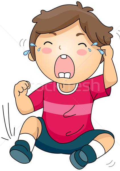 泣い 子供 実例 座って 地上 少年 ストックフォト © lenm