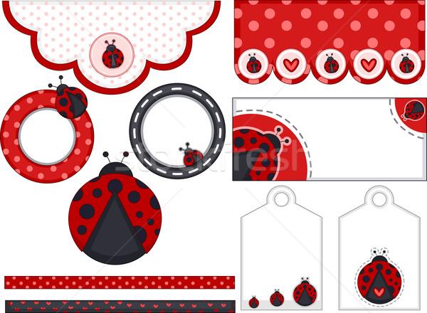 Lady Bug Birthday Design Elements Stock photo © lenm