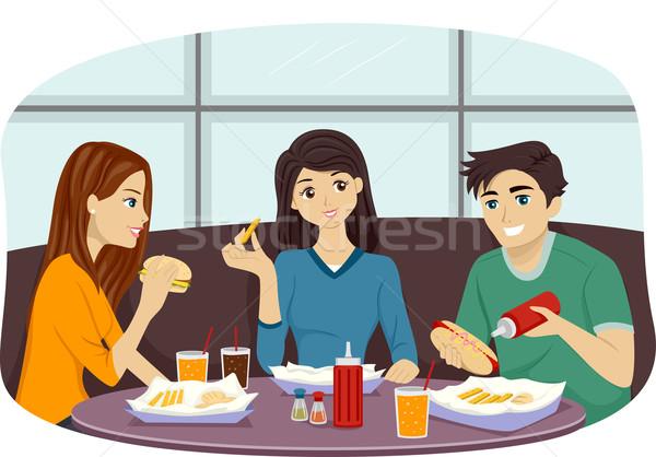 Fast food vrienden illustratie groep eten samen Stockfoto © lenm