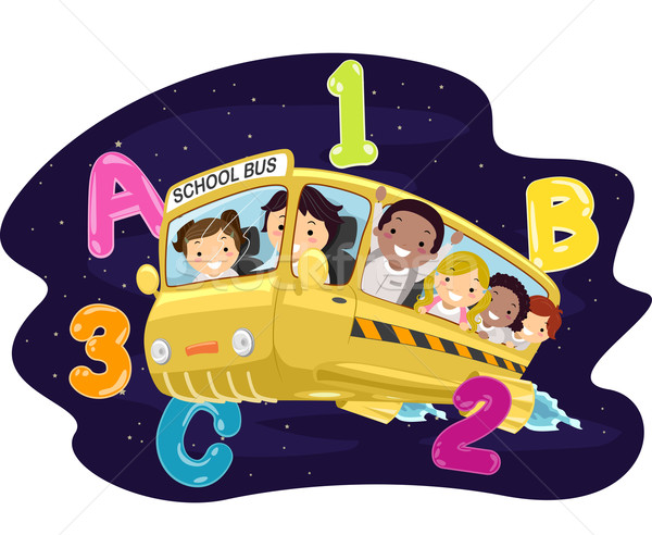 Photo stock: Enfants · bus · scolaire · galaxie · illustration · équitation · bus
