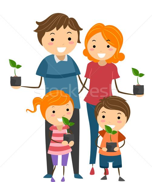Familie zaailingen illustratie ouders kinderen Stockfoto © lenm