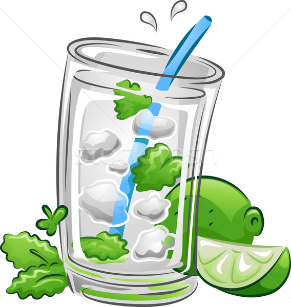 Dranken mojito illustratie drinken kalk mint Stockfoto © lenm