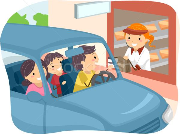 Stickman Family Buying Food at Drive Thru Stock photo © lenm