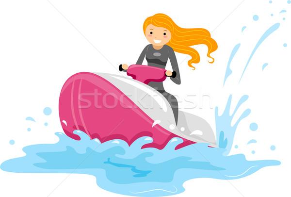 Jet ski lány illusztráció lovaglás nyár női Stock fotó © lenm