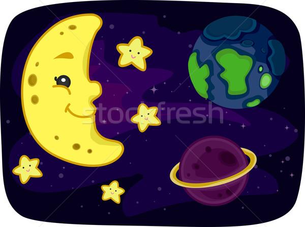 宇宙 実例 表示 地球 月 科学 ストックフォト © lenm