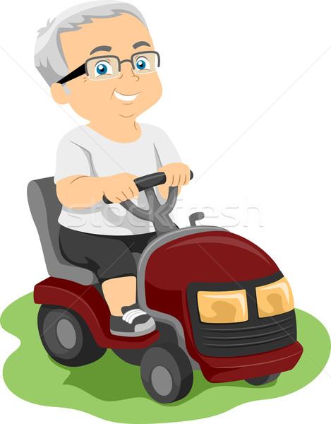 Idős fűnyíró illusztráció idős férfi lovaglás Stock fotó © lenm