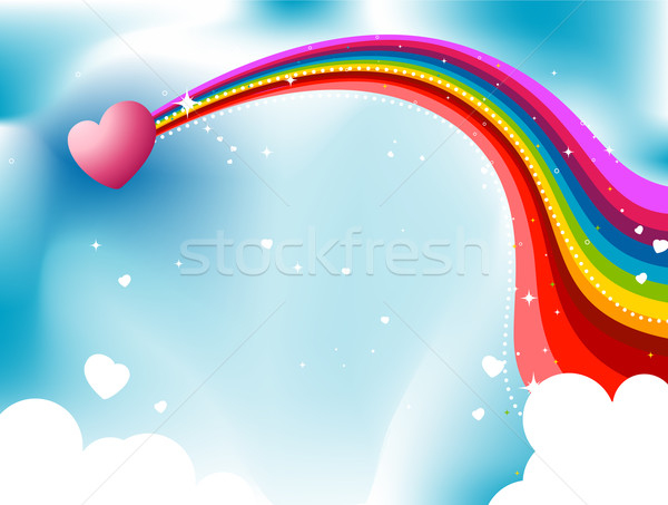 Coeur Rainbow sentier ciel amour couleurs Photo stock © lenm