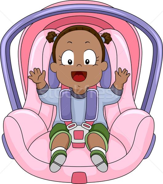 Menina carro assento ilustração sorridente menina Foto stock © lenm