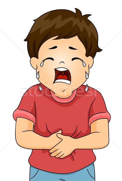 Mal di stomaco ragazzo illustrazione piangere dolore bambino Foto d'archivio © lenm