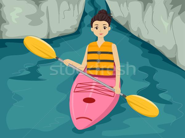 Kajak meisje illustratie sport zee oceaan Stockfoto © lenm