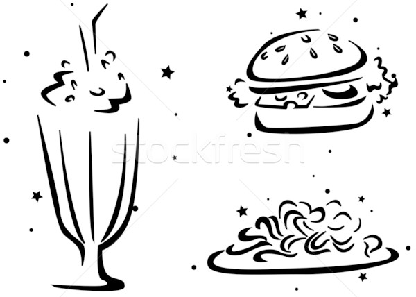Voedsel stencil glas milkshake hamburger zwarte Stockfoto © lenm