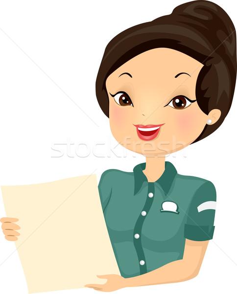 Girl Waitress Menu Bistro Stock photo © lenm