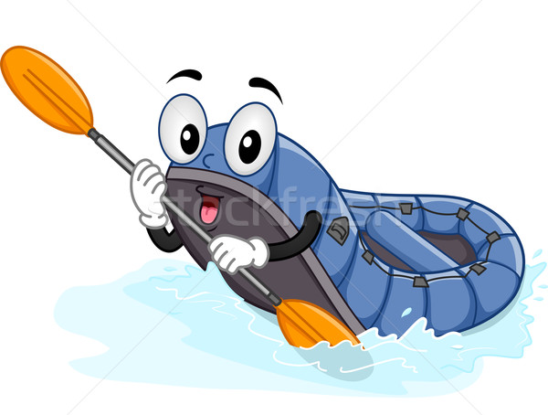 Mascotte acqua zattera illustrazione fiume rafting Foto d'archivio © lenm
