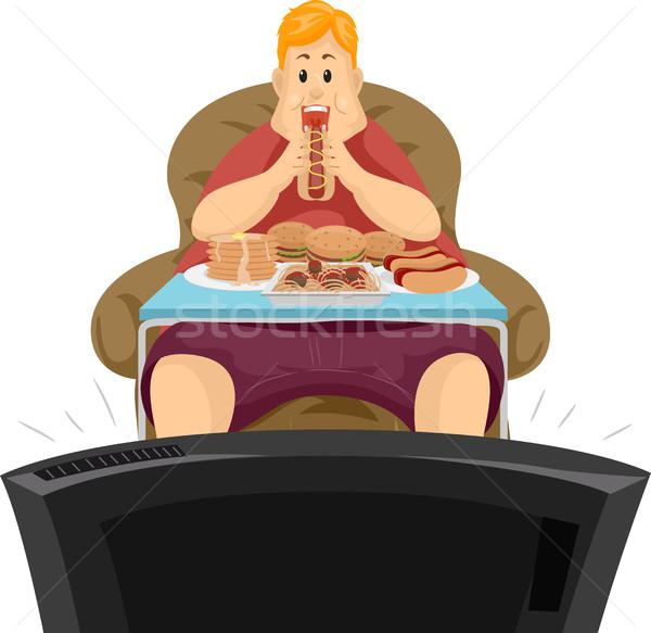 Otyły człowiek jedzenie obiedzie telewizja ilustracja Zdjęcia stock © lenm