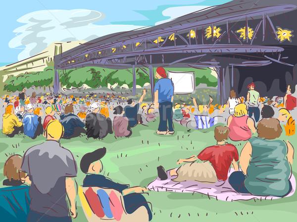 Personas aire libre concierto ilustración grande multitud Foto stock © lenm
