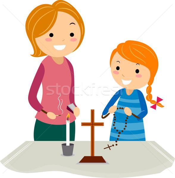 Christian altare illustrazione madre figlia piedi Foto d'archivio © lenm