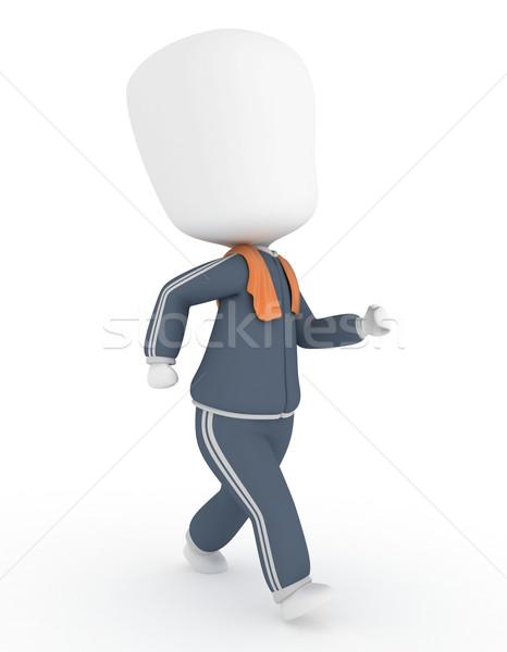 Basculador 3d hombre ejercicio toalla 3D Foto stock © lenm