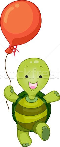 Turtle Mascot with Balloon Stock photo © lenm
