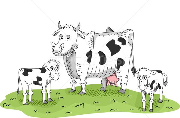 牛 ふくらはぎ 実例 立って パッチ 草 ストックフォト © lenm