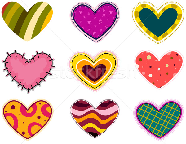 Funky Heart Patches Stock photo © lenm