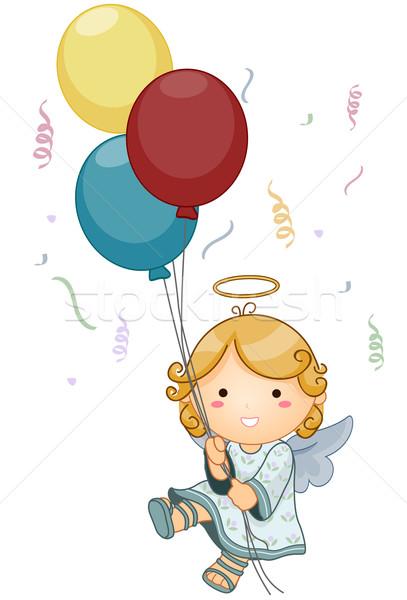 天使 歳の誕生日 かわいい 風船 ストックフォト © lenm