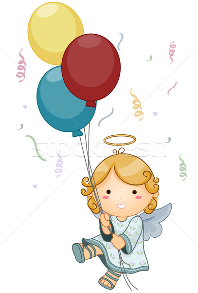 Engel verjaardag cute ballonnen Stockfoto © lenm