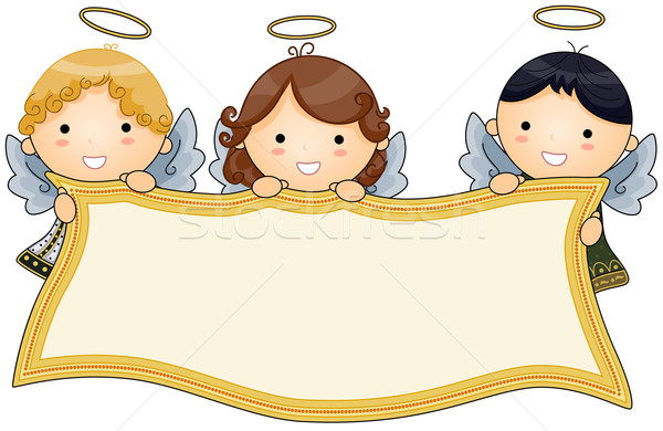 Angels holding Banner Stock photo © lenm