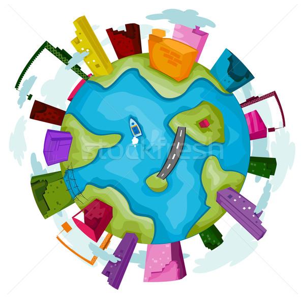 産業 世界中 ビジネス 地球 橋 ストックフォト © lenm