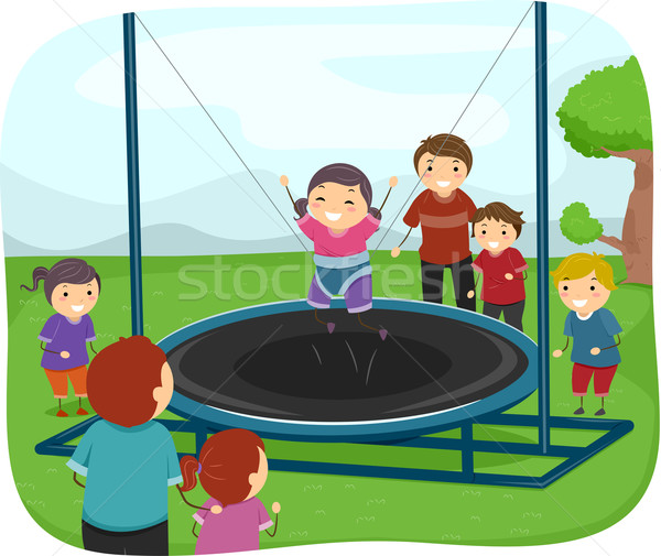 Kids Playing with a Trampoline Stock photo © lenm