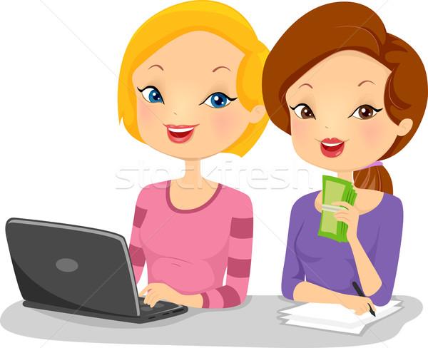 Weiblichen Illustration Sitzung Seite Computer Stock foto © lenm