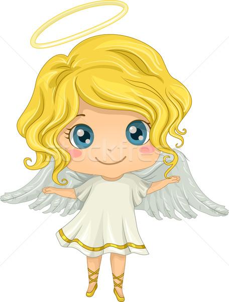 Engel meisje illustratie meisje kid jonge Stockfoto © lenm