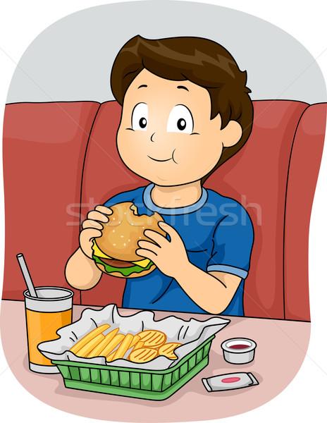 Fast food jongen illustratie eten gezondheid kid Stockfoto © lenm