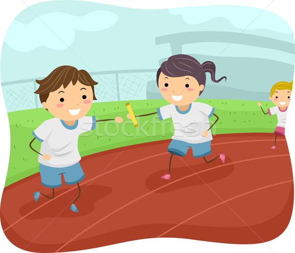 Stickman Kids Relay Race Stock photo © lenm