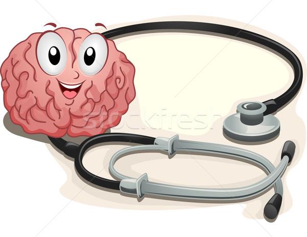 Mascotte cervello illustrazione crusca seduta accanto Foto d'archivio © lenm