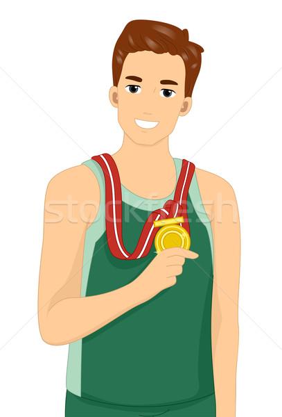 Férfi aranyérem illusztráció férfi atléta mutat Stock fotó © lenm
