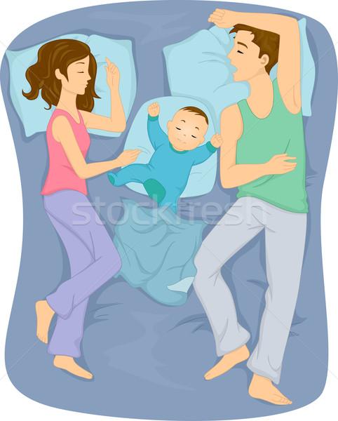 Foto d'archivio: Famiglia · dormire · letto · illustrazione · insieme · uomo