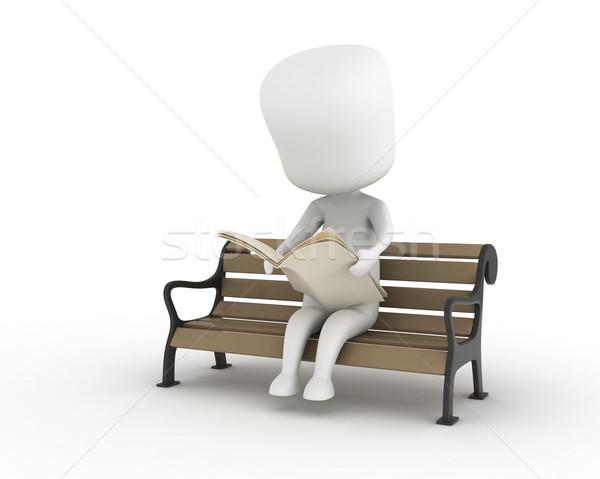 Mann Lesung Zeitung 3D-Darstellung News Park Stock foto © lenm