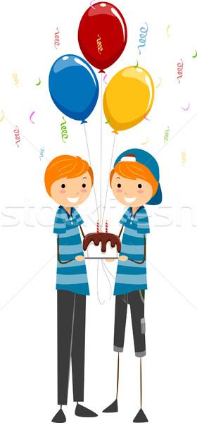 Születésnap ikrek illusztráció ünnepel buli férfiak Stock fotó © lenm