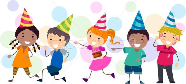 Stockfoto: Kinderen · spelen · icing · illustratie · kinderen · verjaardag · vrouwelijke