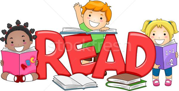 Сток-фото: дети · чтение · иллюстрация · различный · книгах · девушки
