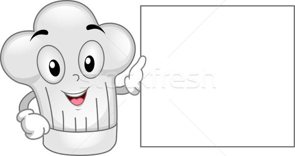Stock foto: Maskottchen · Illustration · hat · Bord · Koch · Karikatur