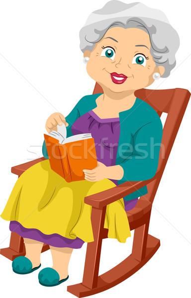 Senior schommelstoel illustratie vergadering vrouw Stockfoto © lenm