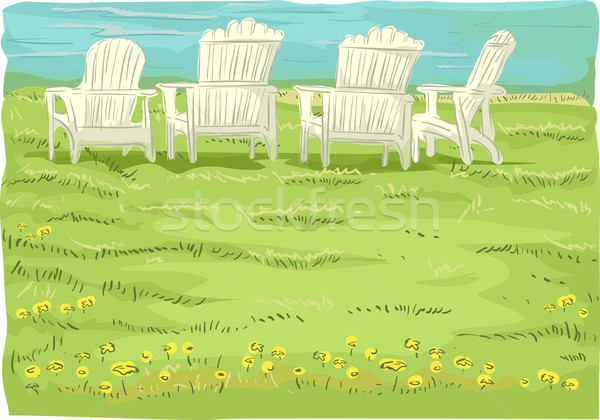 Beach Chairs in Grassfield Stock photo © lenm