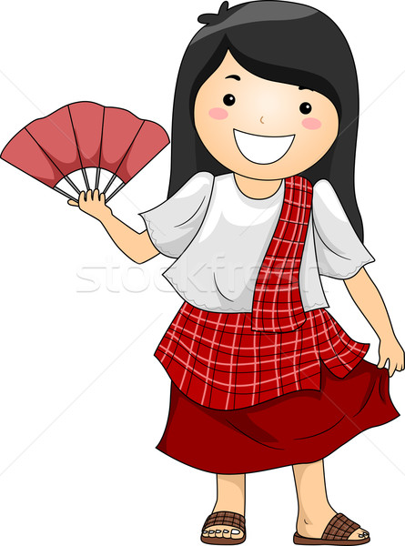 少女 着用 伝統的な 衣装 実例 幸せ ストックフォト © lenm