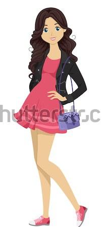 Nina atrás mancha ilustración femenino dama Foto stock © lenm
