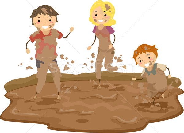 Stickman Family Playing in the Mud Stock photo © lenm