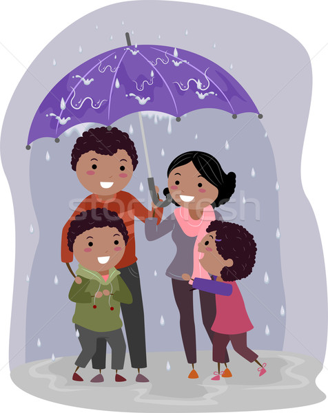 Stickman Family in Under an Umbrella in the Rain Stock photo © lenm