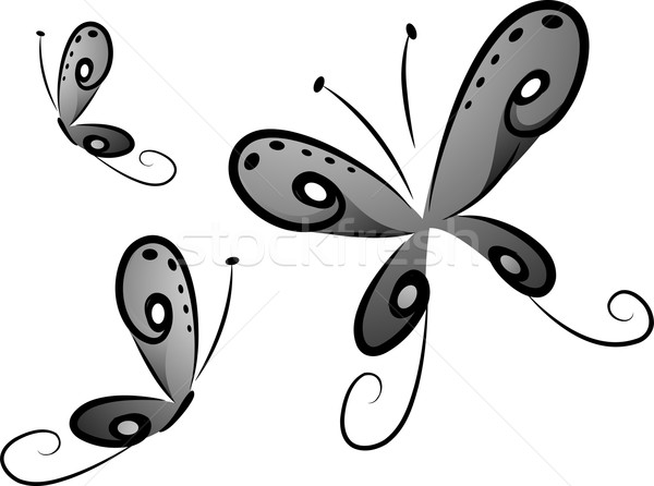 Butterflies in Black and White Stock photo © lenm