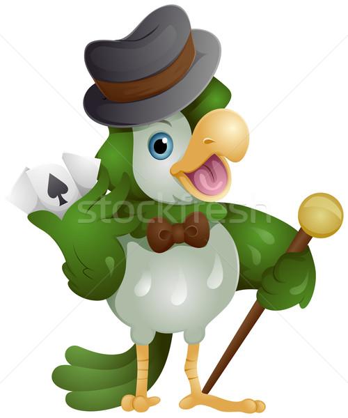 Kuş kumarbaz kumarhane kartları oynamak Stok fotoğraf © lenm